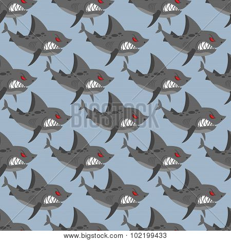 Terrible Shark. Pack Of Sharks Seamless Background. Marine Pattern To  Fabric. Toothy Fish