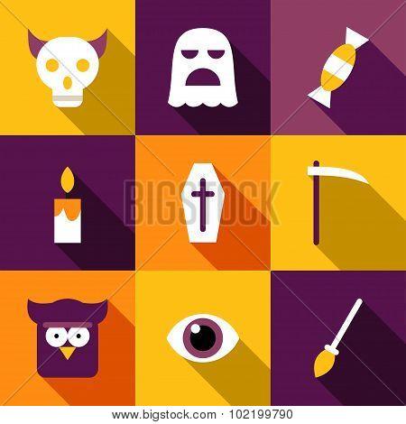 Set Of Flat Design Halloween Illustrations. Coffin, Ghost, Owl, Eye, Skull, Reaper, Broom