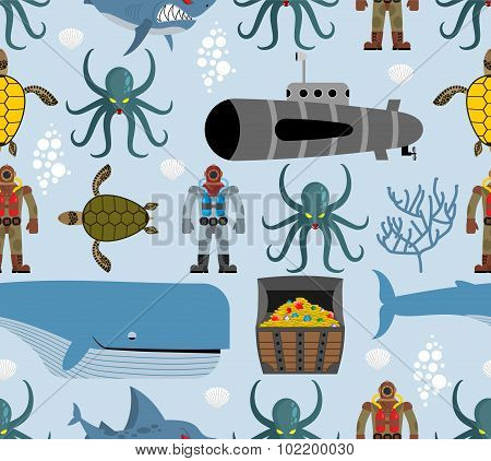 Ocean Seamless Pattern. Marine Life: Whale And Turtle. Octopus And Submarine. Shark And Diver. Vecto