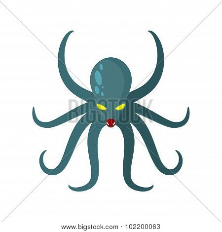 Angry Octopus. Horrible Sea Monster With Tentacles. Vector Illustration Of Green Clam With Yellow Ey