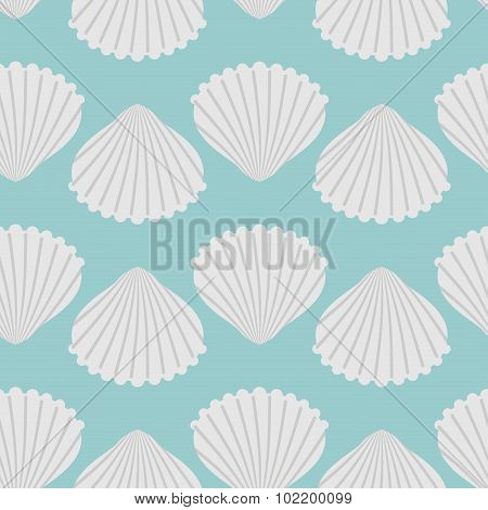 ??????seashell Seamless Pattern. Scallop Vector Background. Retro Fabric Ornament From Shells Of Mol