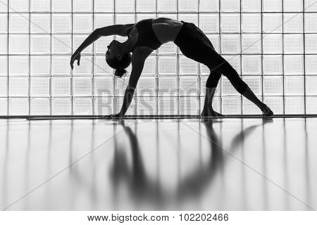 Young woman practicing in a yoga studio. This is called flipped dog.