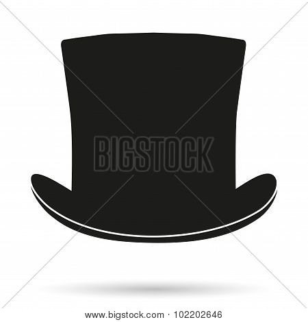 Silhouette symbol of black gentleman hat cylinder background