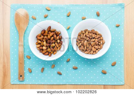 Ingredients to make almond milk at home.Comparing almonds before and after 8 hours soaking in water.