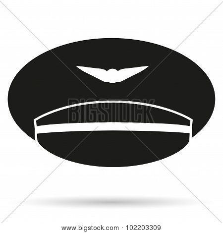 Silhouette symbol of Pilot Aviator Peaked cap.