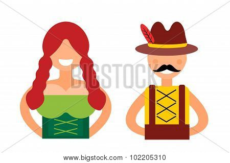 Vector illustration oktoberfest german boy or girl abstract silhouette