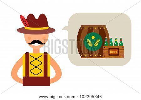 Vector illustration Oktoberfest german man abstract silhouette