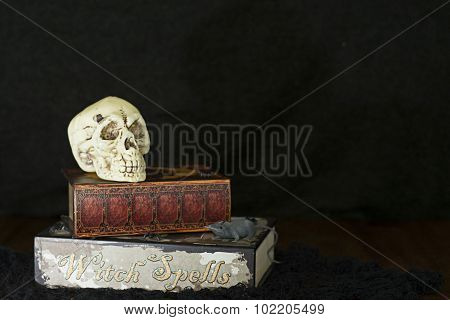 Skull and witch's spell book