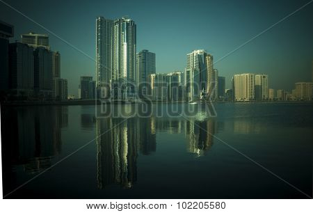A beautiful sunlight fallen on skyline at Sharjah cornice, UAE.