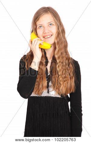Girl Holding Fresh Banana
