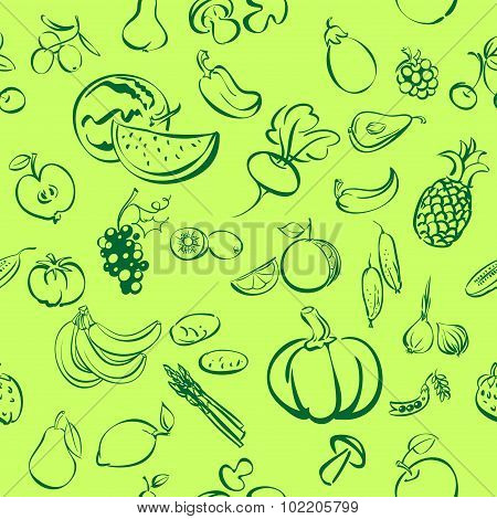 fruits and vegetables icon  sketch vector illustration seamless texture