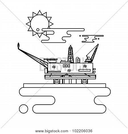 Offshore oil platform in the blue ocean. Flat style vector illustration concept