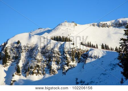 Skislopes On A Mountain Ridge