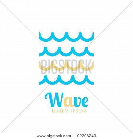 Abstract wavy icon. Company logo or presentations. Vector illustration