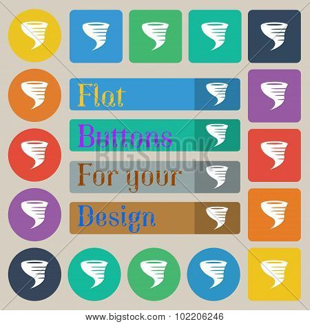 Tornado Icon. Set Of Twenty Colored Flat, Round, Square And Rectangular Buttons. Vector