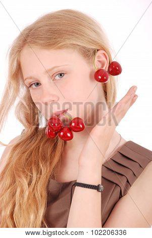 Girl Hold In Lips Fresh Cherries