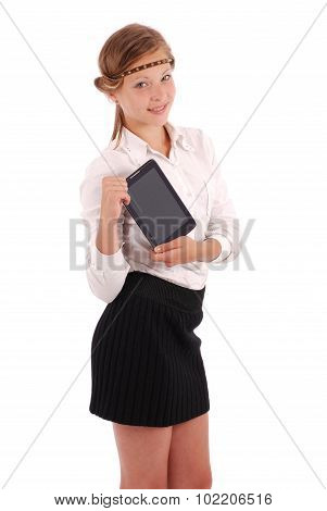 Girl Keeps Tablet Pc Standing Sideways