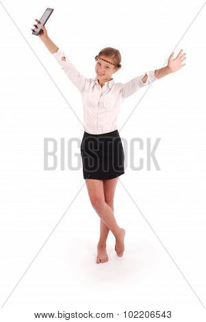 Girl Holding A Tablet Pc Spread Hands In The Parties