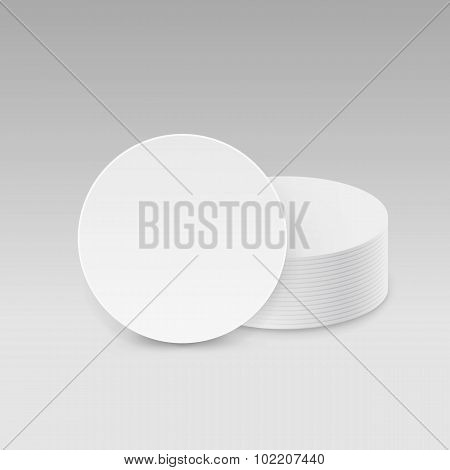 White Round Blank Beer Coasters Vector Isolated