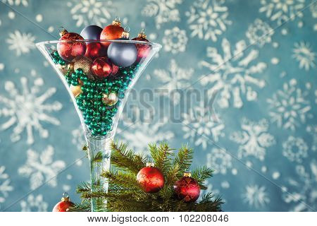 Christmas Gift Decoration - Wine Glass Filled With Christmas Tree Balls And Glass Beads. Festive Coc