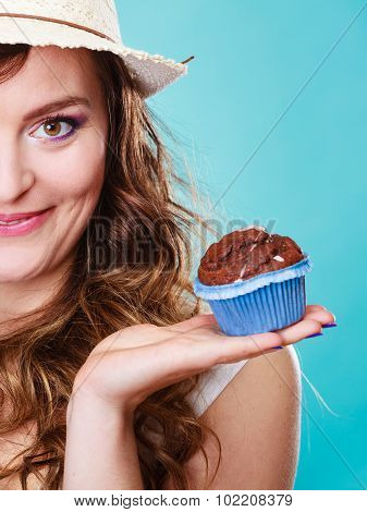 Smiling Summer Woman Holds Cake In Hand