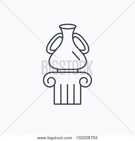 Museum icon. Antique vase on pillar sign.
