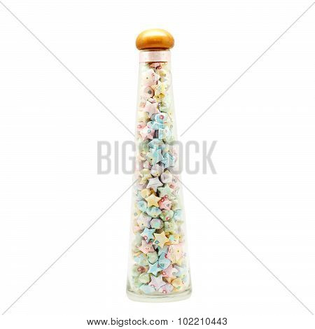 Colorful Origami Lucky Stars In Bottle Isolated On White