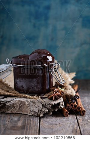 Spicy chocolate sorbet in a jar