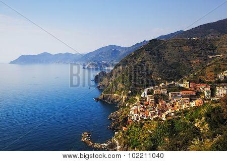 Riomaggiore And Via Dell Amore, The Way Of Love, Aerial View. Cinque Terre, Ligury, Italy
