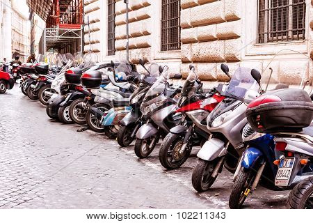 Rome, Italy - October 29: Citizens Most Commonly Use Motorcycles For Everyday Transportation In Rome