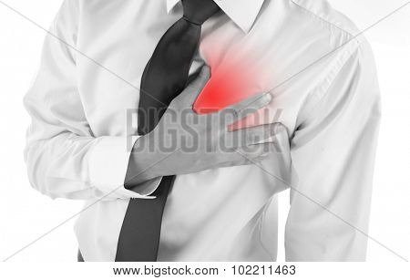 Man having chest pain - heart attack, isolated on white