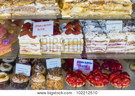 Closeup Of Cakes In A Cake Shop