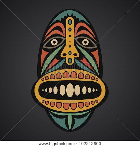 African Mask On A Black Background