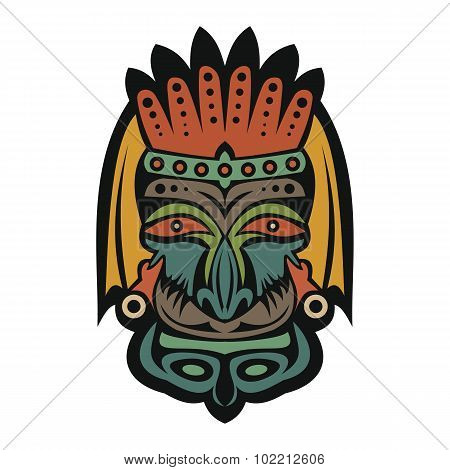 African Mask On A White Background
