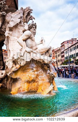 Rome, Italy - October 29: Fountain Four Rivers In Piazza Navona