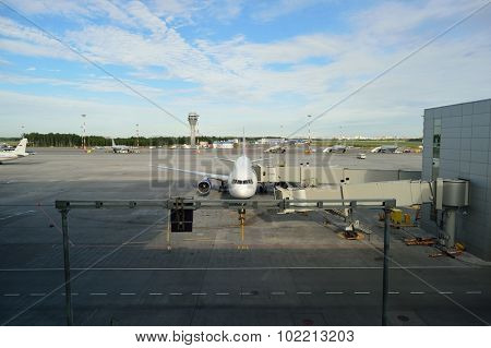 SAINT PETERSBURG, RUSSIA - AUGUST 04, 2015: Pulkovo Airport. Pulkovo Airport is an international airport serving Saint Petersburg, Russia