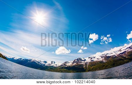 Beautiful Nature Norway natural landscape. Fisheye lens effect.