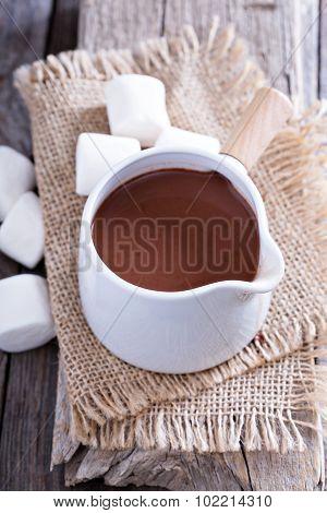 Hot chocolate in a pot