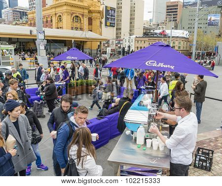 People queuing up for free coffee