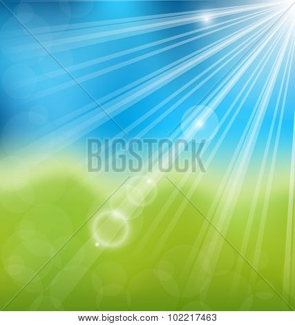 Spring nature background with lens flare