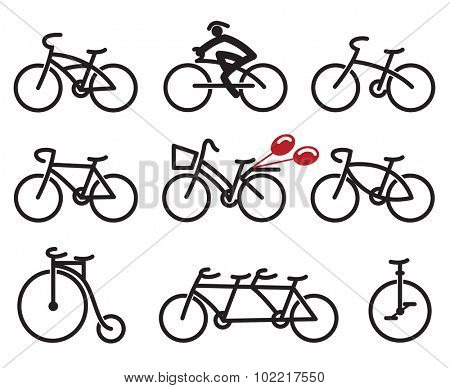 set of nine abstract bicycles