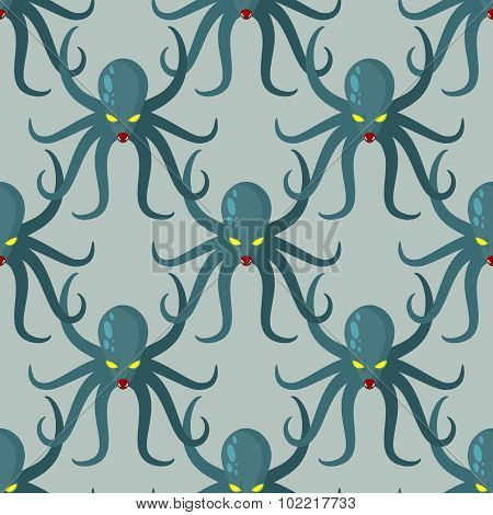 Octopus Seamless Pattern. Vector Background Green Kraken. Retro Fabric Texture  Cthulhu. Dreaded Cla