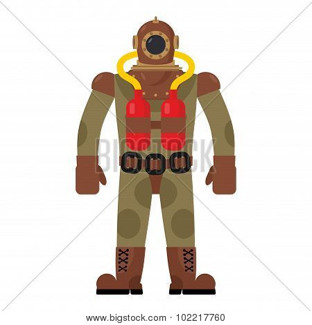 Diver Old Diving Suit. Retro Clothing For Scuba Diving. Vintage Gear For Swimming. Protective Suit F