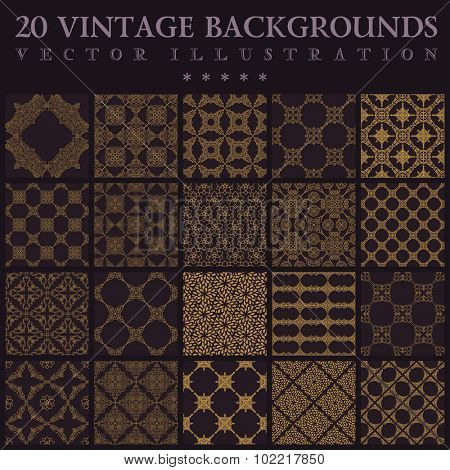 20 Vintage backgrounds. Seamless pattern ornament and decoration wallpaper design