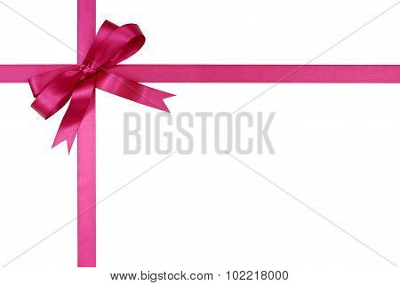 Pink Gift Ribbon And Bow Isolated On White Background
