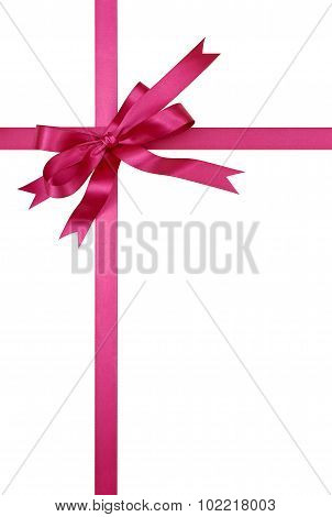 Pink Gift Ribbon And Bow Isolated On White Background Vertical