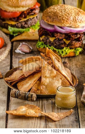 Homemade Nachos With Rustic Burger