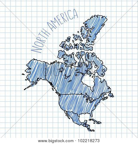Blue pen hand drawn North America map vector on paper illustration