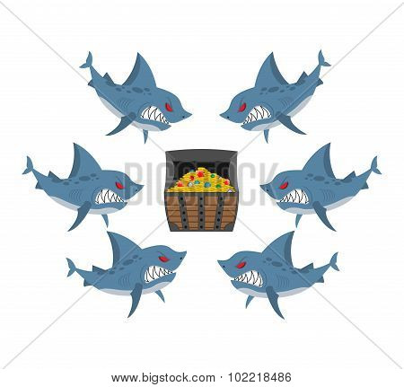 Sharks And Prey. Chest Of Gold And An Angry Fish. Vector Illustration Business Allegory. Section Pro