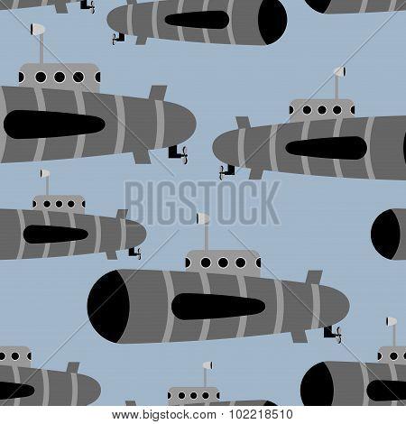 Submarine Seamless Pattern. Vector Background Of Underwater Ships.